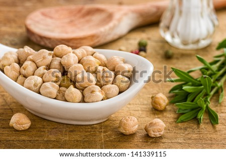 Bowl with chickpeas - stock photo