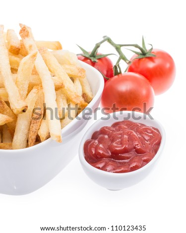 Bowl with Chips and Ketchup isolated on white