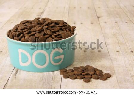 Bowl with dog food on a hardwood floor. - stock photo