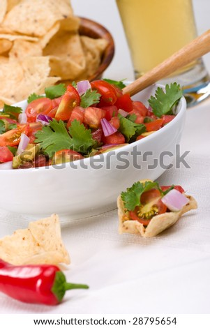 Bowl with fresh cherry tomatoes and avocado salsa. Corn chips and beer. Very shallow DOF on salsa.