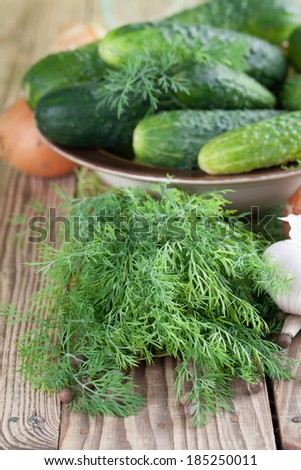 Bowl with fresh cucumbers, dill, garlic, onion, bay leaf and allspice ingredients for pickle making - stock photo