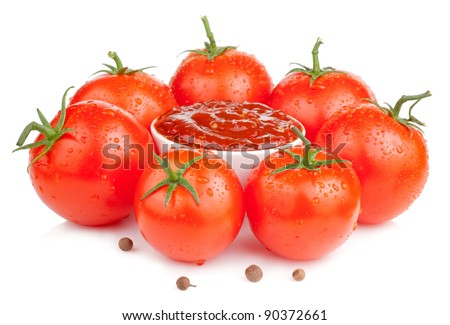 Bowl with fresh ketchup and six wet juicy ripe tomatoes isolated on white background - stock photo