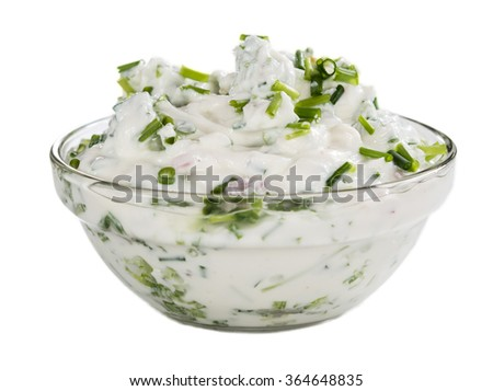 Bowl with fresh made Herb Curd isolated on white background - stock photo