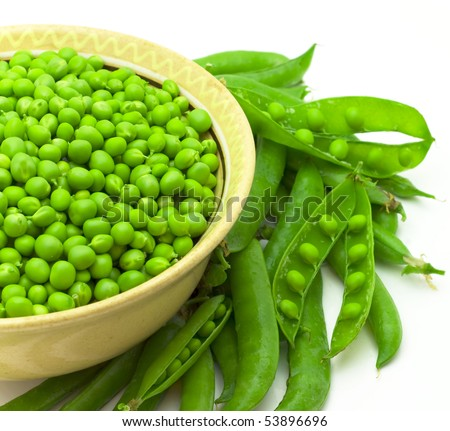 Bowl with green peas the isolated - stock photo