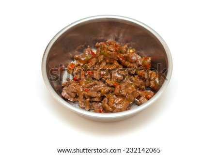 bowl with meat and vegetables for the animals isolated on a white background. Food for dogs and cats - stock photo