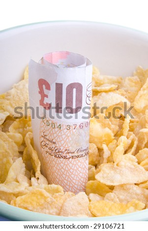 Bowl with ten pounds - stock photo