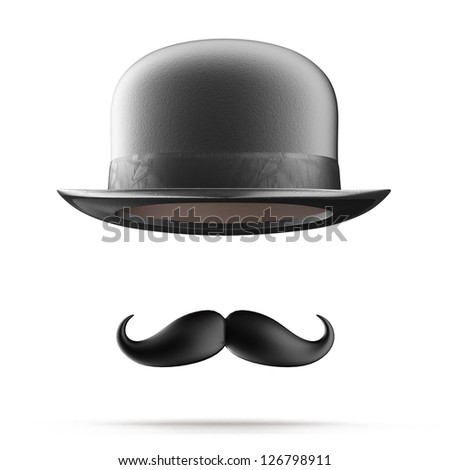 Bowler hat and mustaches - stock photo