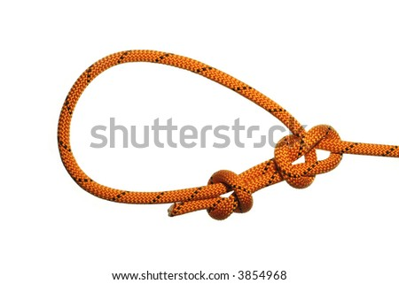 Bowline knot on white background