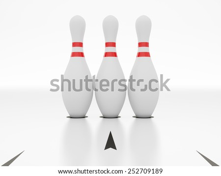 Bowling alley on white background. - stock photo