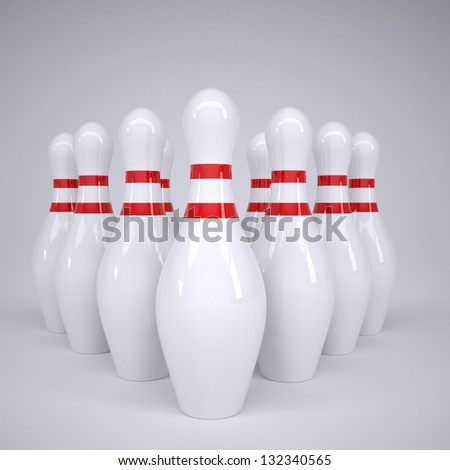 Bowling alleys. Render on a gray background - stock photo