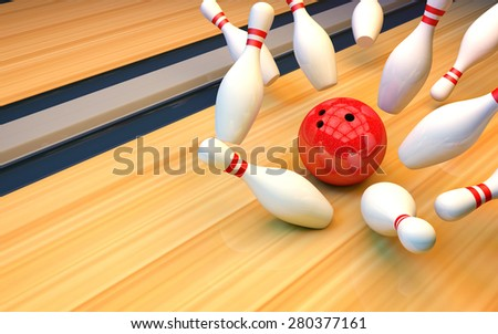 Bowling background. Ball knocks down skittles - stock photo