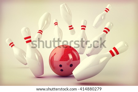 Bowling background: Skittles and bowling ball in retro style. 3D - stock photo