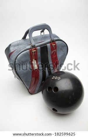Bowling Ball and Bag - stock photo