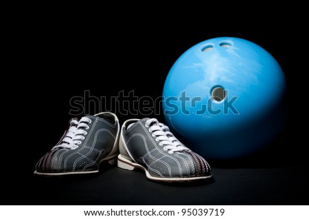 bowling ball and bowling shoes - stock photo