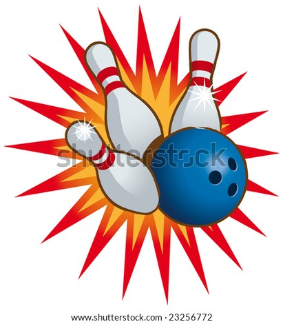 Bowling ball and falling bowling pins - Raster version - stock photo