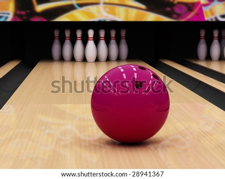 Bowling ball and pins - stock photo