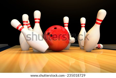 bowling ball and pins in a bowling alley 3D - stock photo