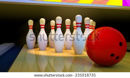 bowling ball and pins in a bowling alley 3D