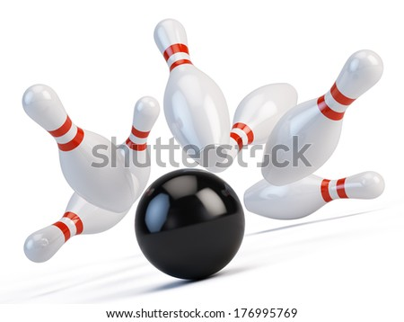 Bowling ball  and scattered skittle - stock photo
