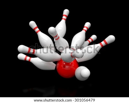 Bowling ball and scattered skittles isolated