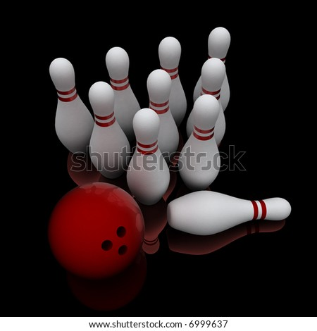 Bowling ball and ten white pins on black reflective surface.