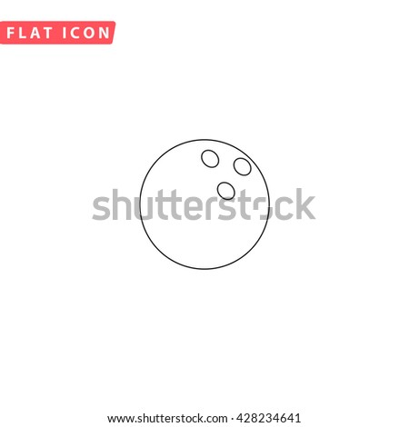 Bowling ball. Black outline simple pictogram on white. Line icon - stock photo