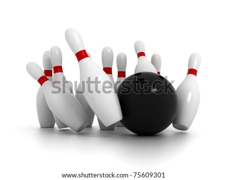 Bowling ball crashing bowling pins isolated on white background - stock photo