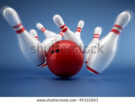 Bowling ball crashing into the pins - 3d render illustration - stock photo