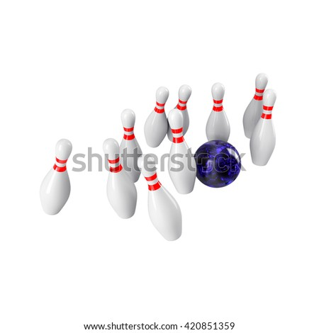 Bowling Ball crashing into the pins. 3D rendering - stock photo