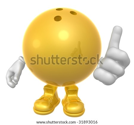 Bowling ball figure mascot - stock photo