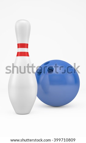 Bowling ball hits skittle isolated on white with clipping path. 3d rendering - stock photo