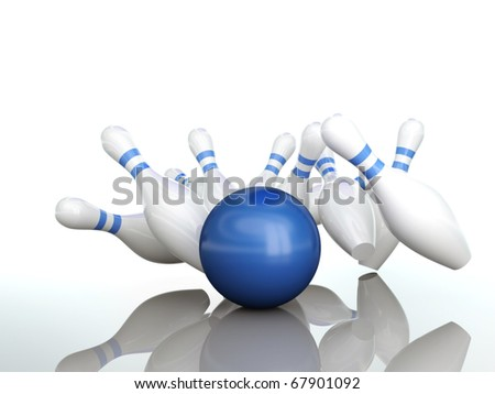 Bowling ball hits strike - stock photo
