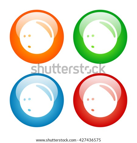 Bowling Ball Icon Glass Button Icon Set with Four Colors.  Raster Version - stock photo