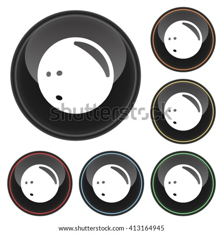 Bowling Ball Icon Glossy Button Icon Set in With Various Color Highlights.  Raster Version - stock photo