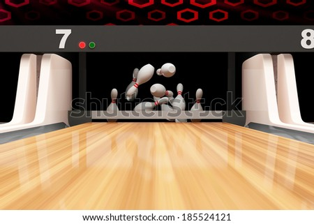 Bowling Ball is Rolling on Wooden Lane - stock photo