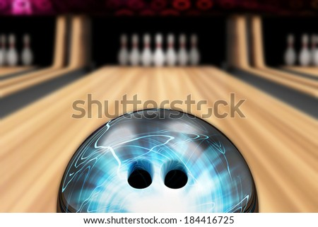 Bowling Ball is Rolling on Wooden Lane. Focus on Bowling Ball - stock photo