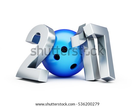 Bowling Ball 2017 new year on white background. 3d Illustrations