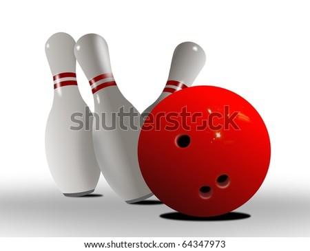 bowling ball strike - stock photo