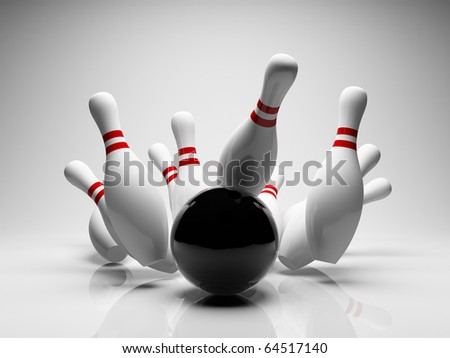 Bowling ball strike shot into the pins - stock photo