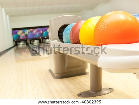 bowling balls in a row - stock photo