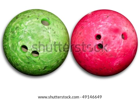 Bowling balls red an green isolated on white background - stock photo