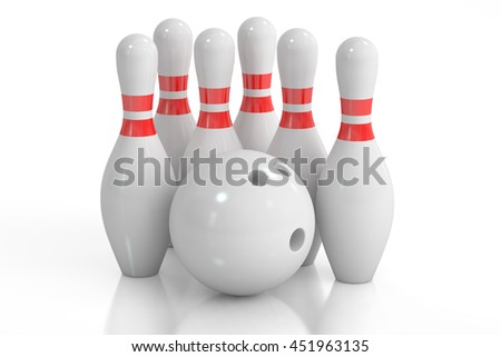 Bowling, 3D rendering isolated on white background