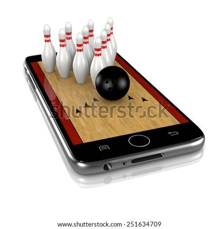 Bowling Field with Skittles and Ball on Smartphone Display 3D Illustration Isolated on White Background - stock photo