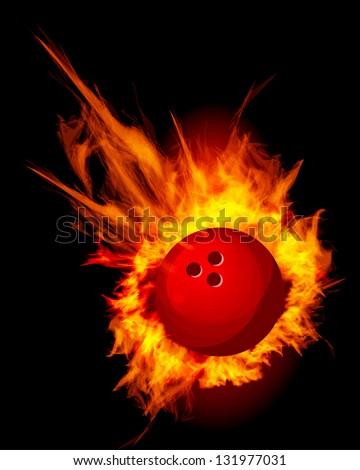 Bowling Fire Ball on black illustration - stock photo