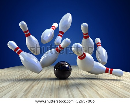 Bowling Game. A bowling ball is knocking the pins down over blue background , a 3d image - stock photo