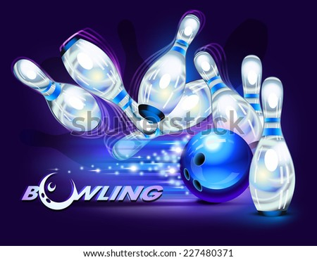 Bowling game, blue bowling ball crashing into the pins - stock photo