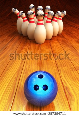 Bowling game illustration and strike concept, moving bowling ball and animated cartoon skittles on wooden floor background - stock photo