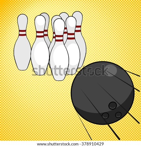 Bowling game pop art style raster illustration. Comic book style imitation. Comic book style imitation. Vintage retro style. Conceptual illustration