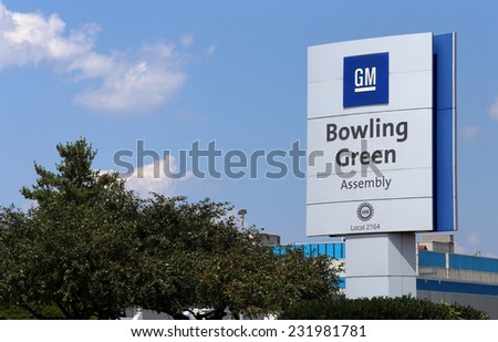 BOWLING GREEN, KY - AUGUST 2: The GM Bowling Green Assembly Plant in Bowling Green, Kentucky on August 2, 2014. The assembly plant is home of the Corvette, a popular sports car made by General Motors. - stock photo