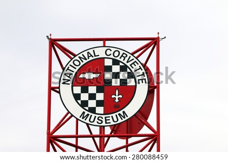 BOWLING GREEN, KY-MAY 2015:  The Corvette Museum is next door to the Corvette assembly plant and displays Corvettes from the 1950's to the current.   - stock photo